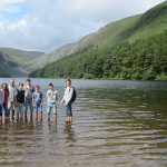 Teens make a stop at Lake Glendalough near Dublin