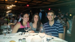 At dinner with host family
